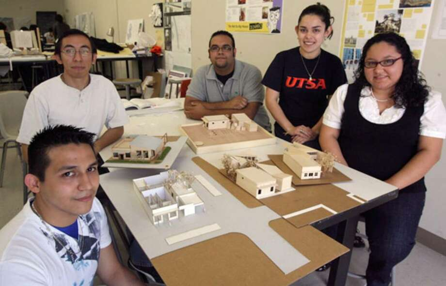UTSA architecture students (clockwise from left) Luis Plascencia, Jaime Hernandez, Sam Gomez, Jennifer Ibanez and Kelley Rodriguez are among those involved in a project that could influence the redesign and expansion of San Anto Cultural Arts' new location.