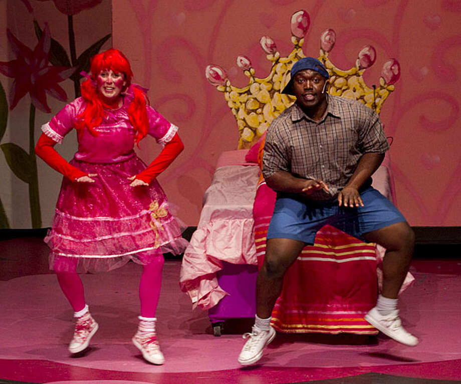 "Beck King (left) and James ""Apollo"" Bradley play siblings in Magik Theatre's ""Pinkalicious."""