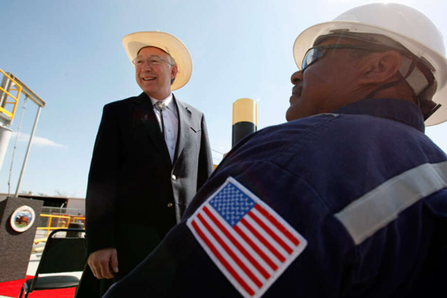 U.S. Interior Secretary Ken Salazar greets workers at Superior Energy Services in Gretna, La., as he arrives to speak about President Obama's plan to expand offshore oil and gas exploration on Thursday.