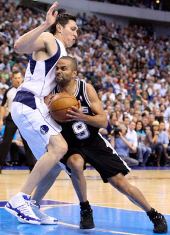 The Mavs' Eduardo Najera (left) decked Tony Parker in Game 5 and Manu Ginobili in Game 4.