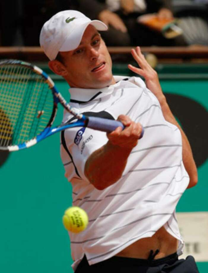 Andy Roddick makes a return during his first-round, five-set victory over Finland's Jarkko Nieminen. Roddick, the 2003 U.S. Open champion, is one of five Americans in the second round.