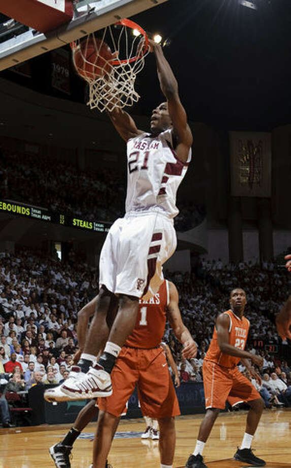 Ray Turner's highlight-reel dunks for Texas A&M, including this one against Texas on Saturday, have frequently inspired the Aggies and their fans this season.