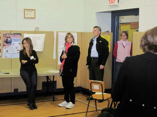 Voters await their turn to vote Tuesday afternoon at the Hindley School polling site. Photo: File Photo / Darien News