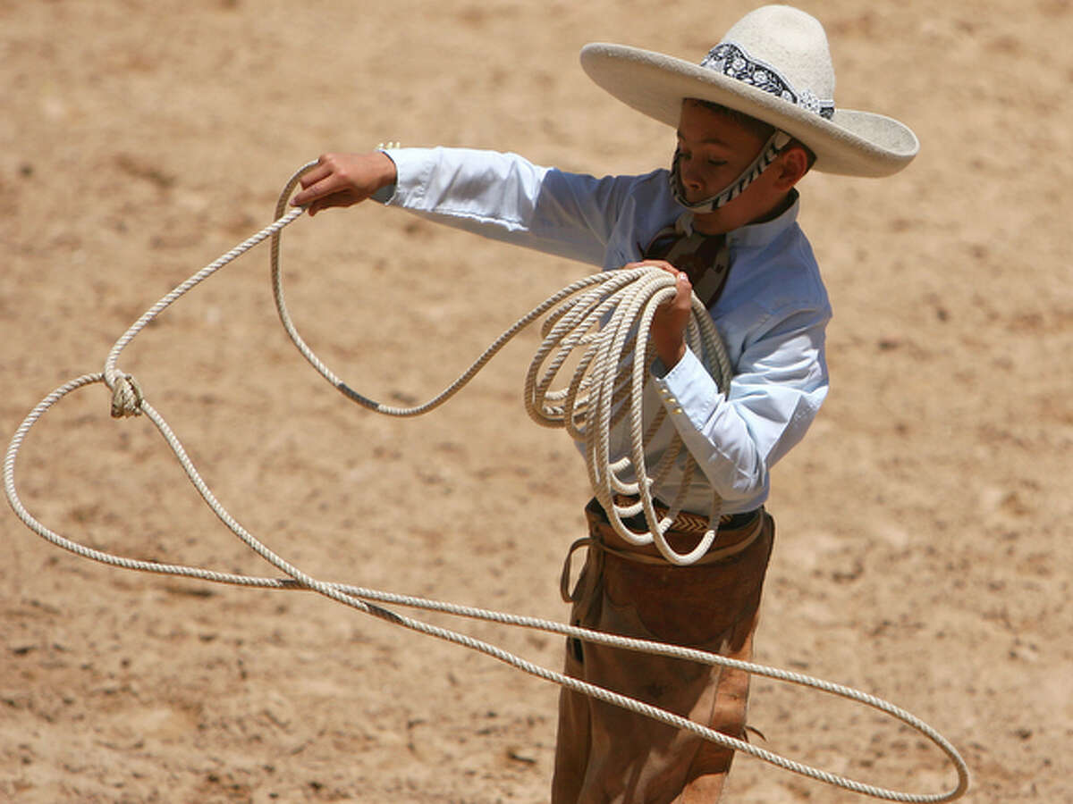 Edmundo Rios III, 13, practices his roping skills during A Day in Old Mexico and Charreada at the San Antonio Charro Ranch, Sunday April 25, 2010.