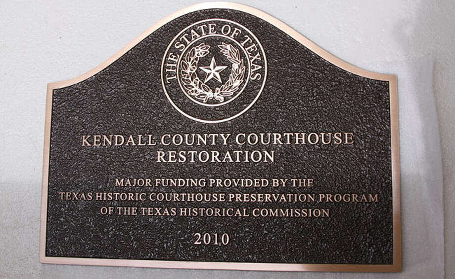 A marker from the Texas Historic Commission was presented to the Kendall County Historical Courthouse on Saturday.