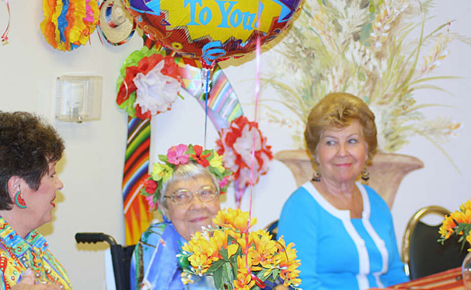 Alma Brauchle (center) celebrates her 101st birthday May 5 at the Sonterra Health Center with daughters Rita Koett (left) and Lynelle Strigent.