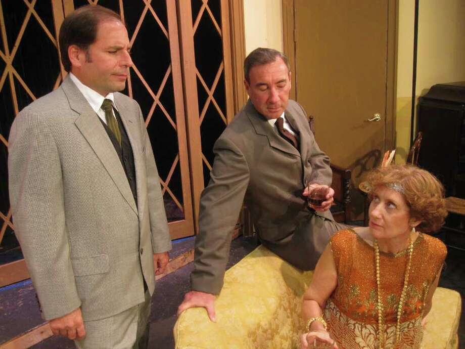 In Ken Ludwig's suspense thriller 'Postmortem,' Leo (played by David Savo of Stamford), Bobby (Bob Filipowich of Fairfield) and Marion (Marcia Cummings Vinci of Pound Ridge, N.Y.) are actors in actor, playwright William Gillette's revival company of 'Sherlock Holmes.' Caught in Gillette's plot to discover the murderer of his deceased fiancée, they doubt each other's alibis. Postmortem will be performed at the Powerhouse Performing Arts Center, Waveny Park, New Canaan through Nov. 13. Contributed photo/Cindy Ording Photo: Contributed Photo / Stamford Advocate Contributed
