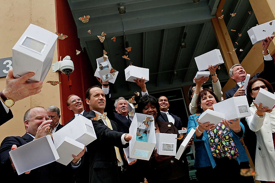 Wednesday, April 14Local and state officials release butterflies during the Haven for Hope dedication ceremony. The 37-acre campus will provide a range of services for nearly 1,400 homeless people. / lkrantz@express-news.net