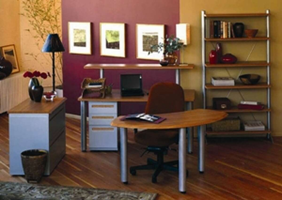 Home offices can be informal and have a bright, contemporary feel.