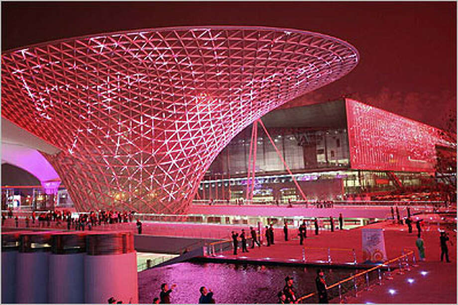 The architecture is one of the most stunning displays at the World Expo in Shanghai, which runs through Oct. 31. The buildings are illuminated at night, and many change colors.