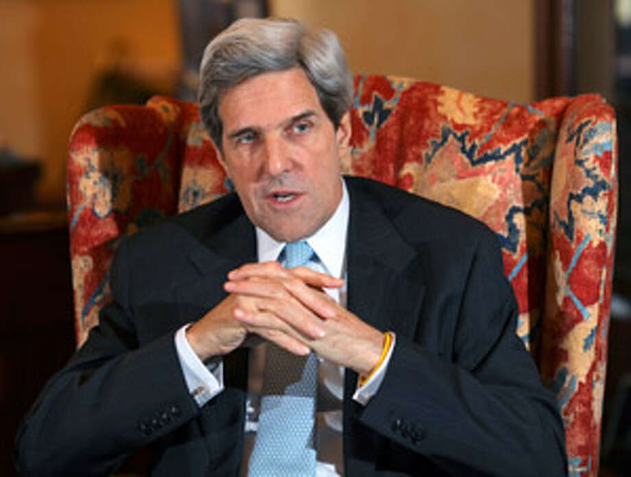 Sen. John Kerry, D-Mass., talks about efforts to pass energy and climate change legislation during an interview with The Associated Press in his office on Capitol Hill in Washington on Thursday.
