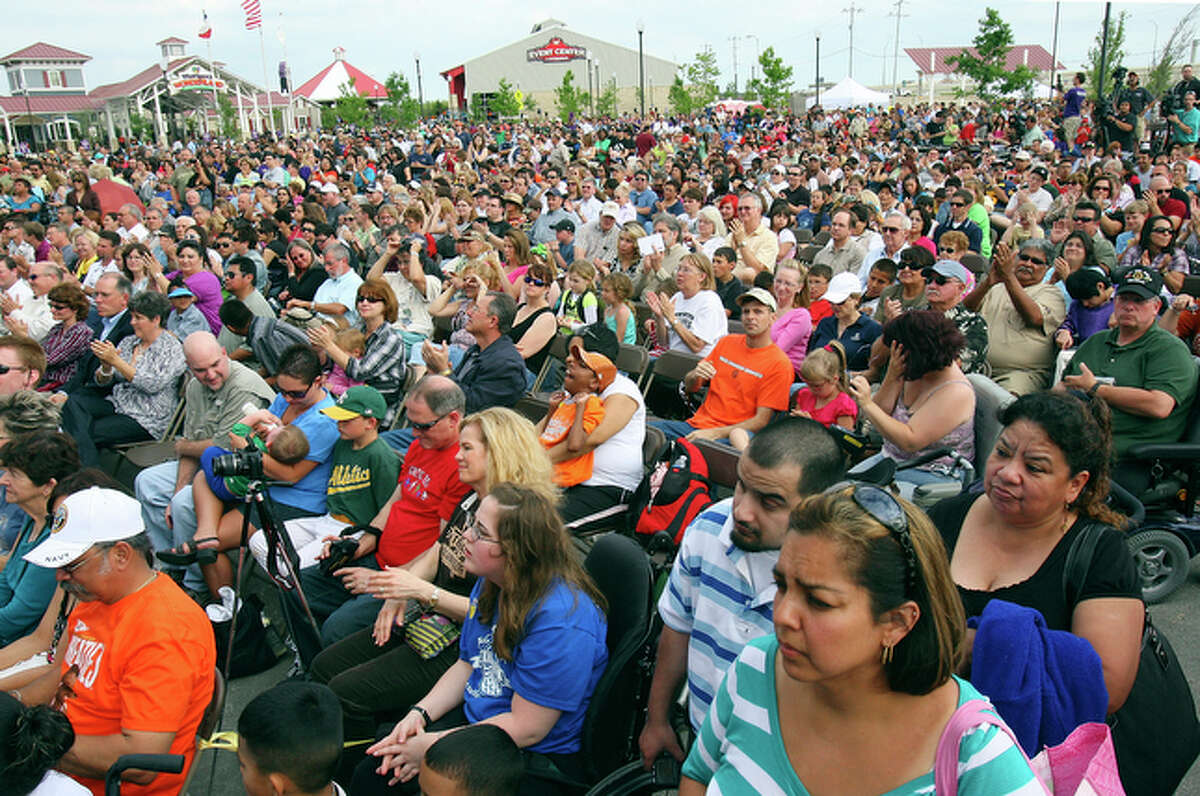 Thousands of people gather for the opening ceremonies.