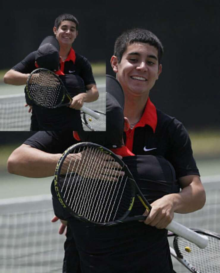 Churchill's Jordan Mayer lifts his doubles partner Angel Alvarez after beating the New Braunfels team for the Region IV-5A crown.