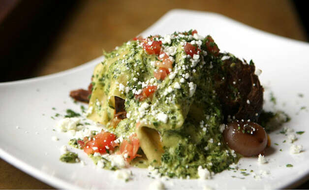 Jalape?o Pesto Fazzaletti with Peroni Pot Roast is served only at Paesanos restaurant on Loop 1604.