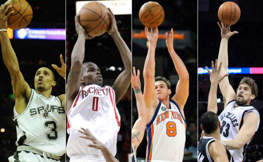 The Express-News' Mike Monroe offers a comparative look at this season's candidates for Most Improved Player (from left to right): the Spurs' George Hill, the Rockets' Aaron Brooks, the Knicks' Danilo Gallinari and the Grizzlies' Marc Gasol.