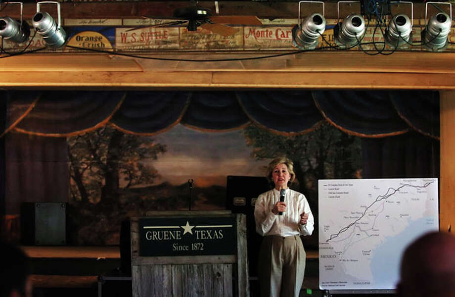 Senator Kay Bailey Hutchison visits with residents on a tour stop March 22, 2005, at Gruene Hall. The senator was traveling El Camino Real de los Tejas to commmorate its designation as a National Historic Trail. / SAN ANTONIO EXPRESS NEWS