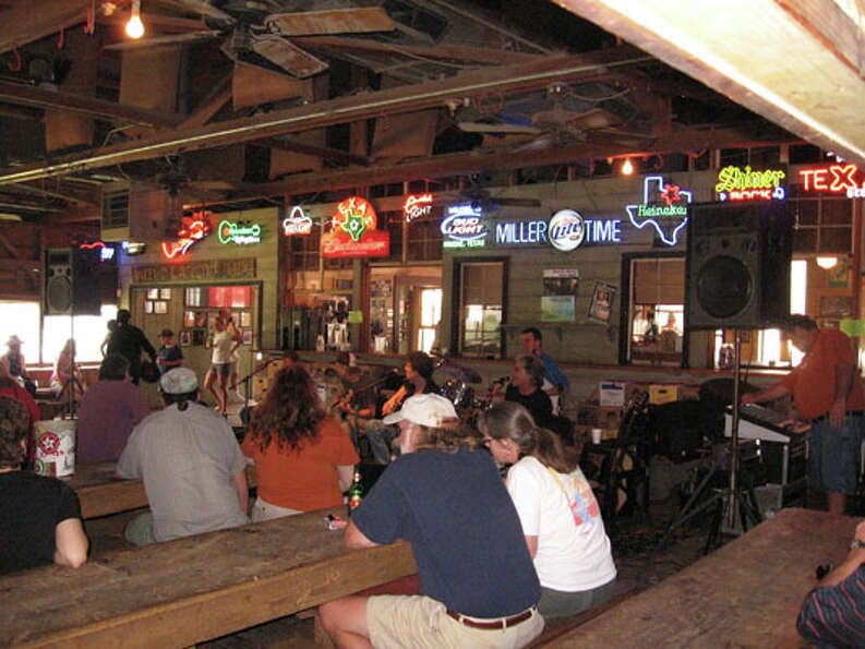 Patrons hang out in Gruene Hall near New Braunfels.