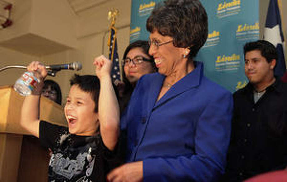 Democrat Linda Chavez-Thompson exults as she takes command of the race for the lieutenant governor nomination.