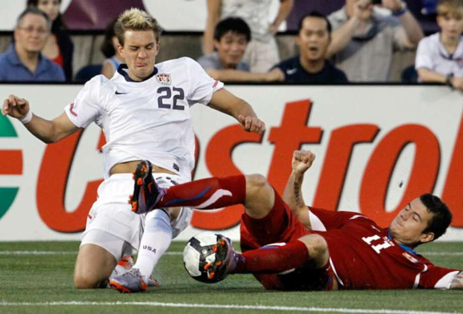 Stuart Holden (left) of the United States and the Czech Republic's Daniel Pudil battle for the ball during the first half.