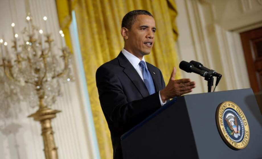 President Barack Obama explains his decision during a news conference in the East Room of the White House.