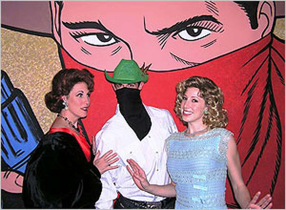 Anna Gangai (from left), Chris Berry and Paige Blend Hansel appear in a scene from ?Curtains.?
