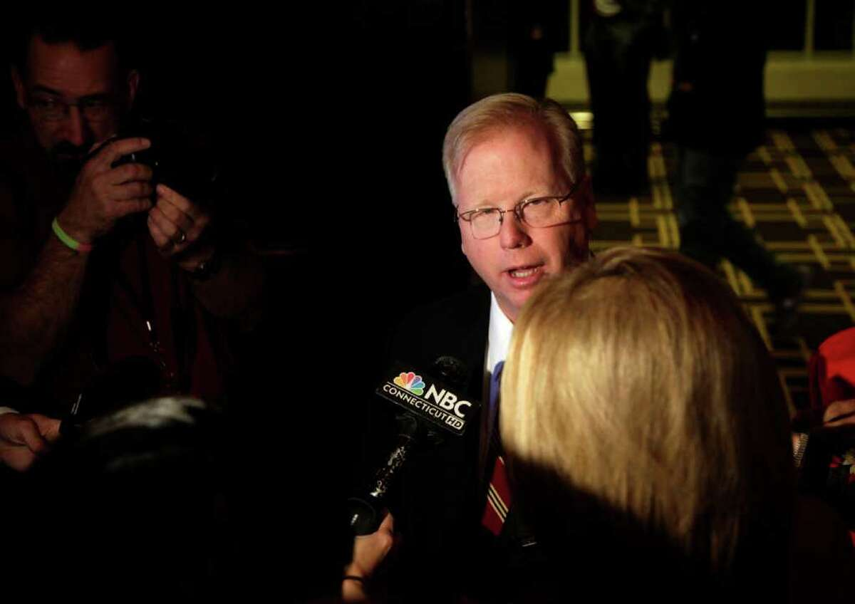 Danbury Mayor Mark Boughton, speaks to members of the press about his race for Lt. Governor with the Republican party at the Greenwich Hyatt in Old Greenwich, CT on election night Nov. 2, 2010.