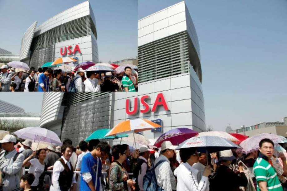 Shanghai's $44 billion World Expo has opened its gates to the public. Seen here are long lines of visitors waiting outside the USA Pavilion. An estimated 70 million visitors are expected during the six-month long event.