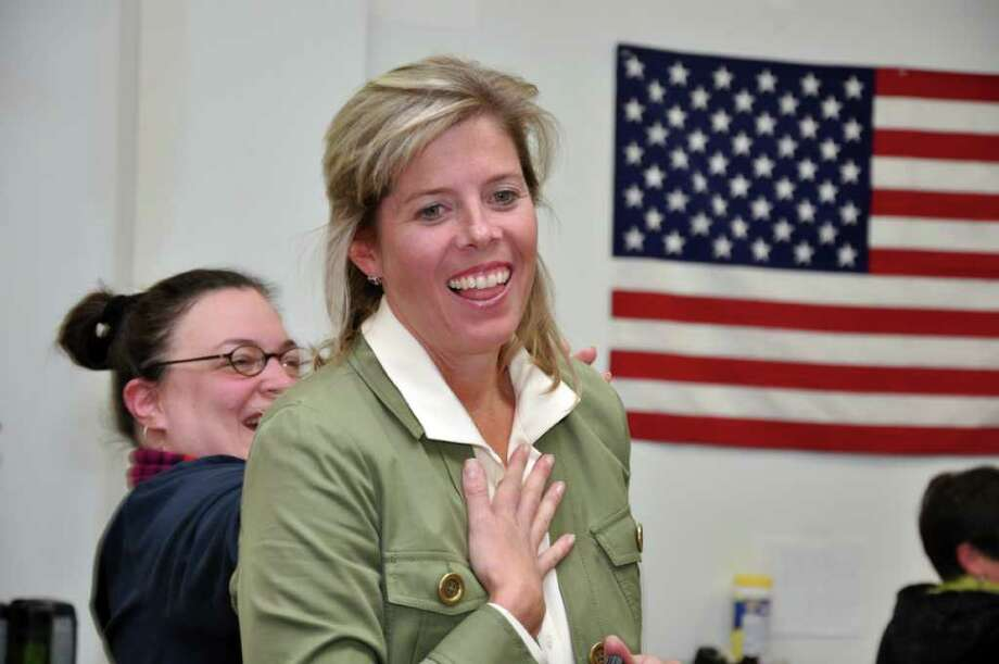 Kim Fawcett reacts on her victory over DeeDee Brandt for the 133 District at the Fairfield Democratic Headquarters on Tuesday, Nov. 2, 2010. Photo: Amy Mortensen / Amy Mortensen Freelance