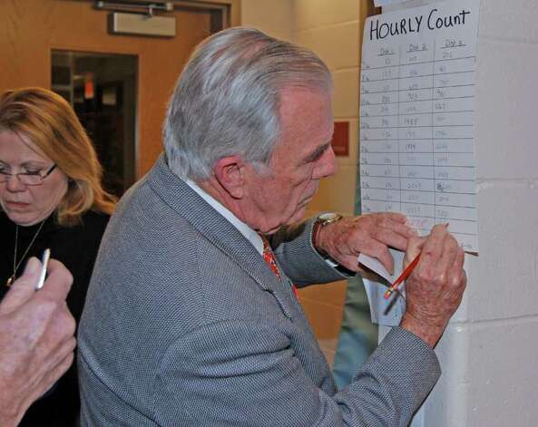 Moderator Richard Davies updates the total counts per district. Photo: Jeanna Petersen Shepard / New Canaan News