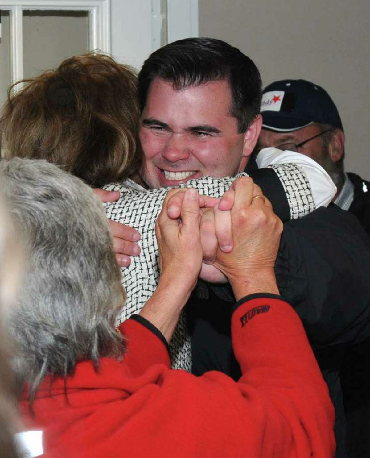 Chris Lyddy, arrives at the Democratic Headquaters in Newtown, after winning the 106th District, State Representive race, on Tuesday, Nov. 11, 2010.