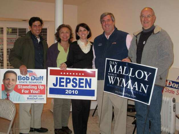 Members of the Darien Democratic Party gathered at their Post Road headquarters Tuesday evening to wait for election results. From left: Vice Chairman Tony Inbimbo, Adria Bates, Selectwoman Callie Sullivan, DTC Chairman John Davis, and Marc Thorne. Photo: File Photo / Darien News