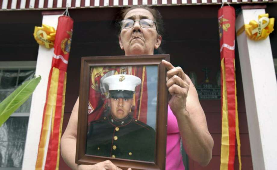 Gloria Rangel helped raise grandson Marine Lance Cpl. Chris Rangel on the Southwest Side, along with his sister and twin brother. Chris Rangel, 22, was killed last week in Afghanistan by enemy fire.