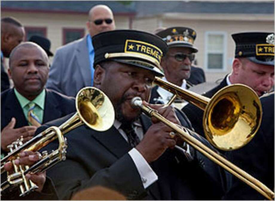 "Antoine Batiste (Wendell Pierce on trombone) plays in a funeral march in the pilot of ""Treme."""