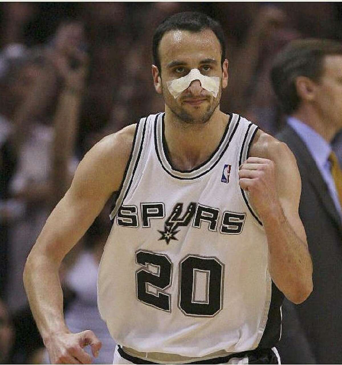 Spurs guard Manu Ginobili reacts after scoring two of his 26 points.