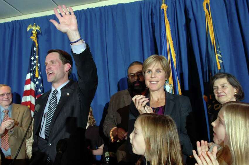 Democratic incumbent Jim Himes speaks to supporters at the Bridgeport Holiday Inn Nov. 2nd, 2010. Himes defeated republican challenger Dan Debicella in the 4th Congressional District.