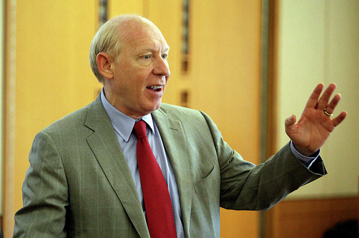Bill White, Democrat candidate for governor of Texas, greets a group of students and educators in the Business Building at The University of Texas at San Antonio Main Campus on Monday.