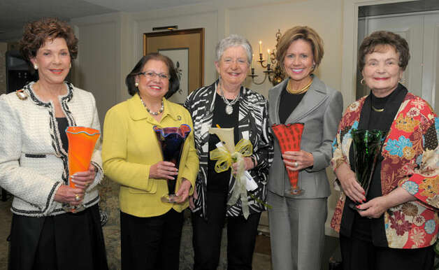 Joci Straus (left to right), Hope Andrade, Dr. Coleen Grissom, Sheryl Sculley and Lila Cockrell celebrate Writing Women Back Into History at the 2010 Beyond the Glass Ceiling event March 4 at the San Antonio Country Club.