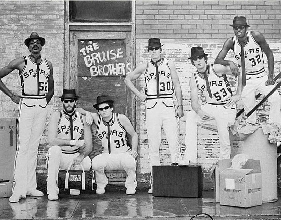 The Spurs? frontcourt of the early 1980s ? the ?Bruise Brothers? ? were popular enough with fans to have their own poster. The players in the poster were (from left) George Johnson, Dave Corzine, Kevin Restani, Paul Griffin, Mark Olberding and Reggie Johnson.