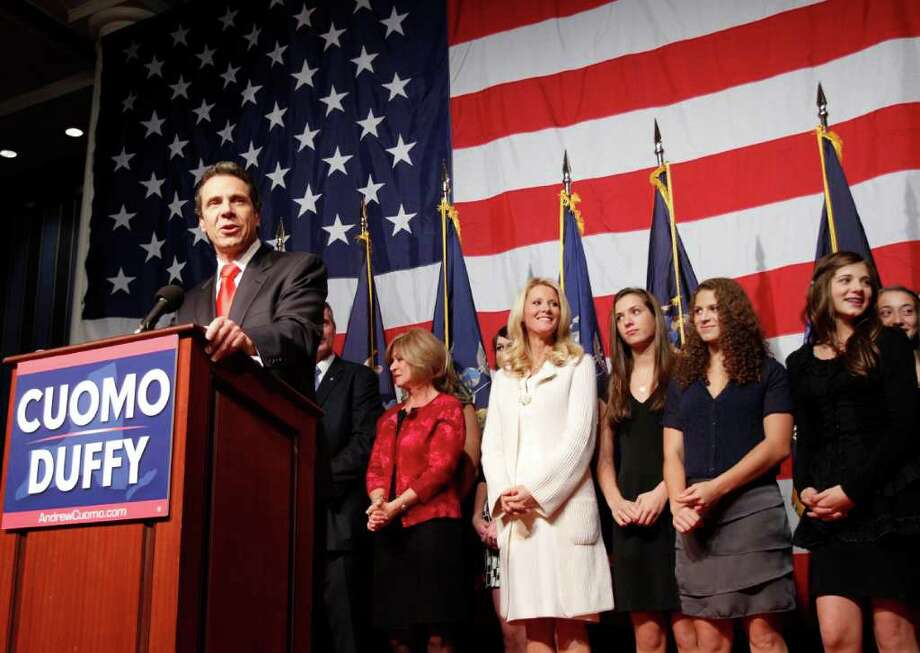 Governor-elect Andrew Cuomo delivers his victory speech Tuesday in New York City. (AP Photo/Mary Altaffer) Photo: Mary Altaffer