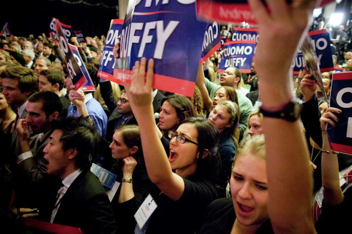 Supporters of Governor-elect Andrew Cuomo celebrate Tuesday at the Sheraton New York on election night, November 2, 2010 in New York City. Cuomo resoundingly defeated his tea party-backed opponent, Republican candidate Carl Paladino. (Photo by Michael Nagle/Getty Images)