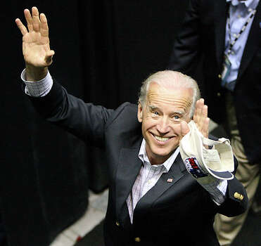 "Vice President Joe Biden attended Connecticut's coronation, sitting several rows from the floor near center court. He was accompanied by his wife, Jill Biden, and three of their granddaughters, all of whom are athletes. ""(Sports) gives them overwhelming confidence,"" Biden told ESPN in a courtside interview. ""I've been telling my granddaughters and daughters they can do everything that a boy can do."" Biden is the highest-ranking government official ever to attend the women's Final Four. / eaornelas@express-news.net"
