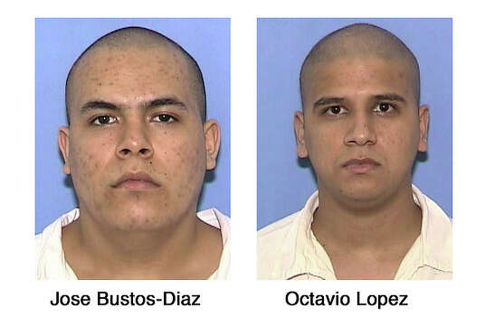 Octavio Ramos Lopez, 27, and convicted murderer Jose Bustos-Diaz, 21, were reported missing around 7 a.m. on April 6, 2010 from the Briscoe Unit in Frio County. They crawled through a ventilation fan in the prison's furniture factory, where they made chairs. Once out, the men covered 25 yards before they reached the fence, sneaking off the property undetected and vanishing. / Texas Department of Criminal Justice