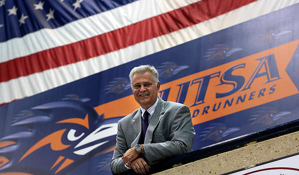 "Now the athletic marketing director for UTSA, jim Goodman has a new football program to promote in the nation's largest market without an NFL or major college presence. ""We might not be the University of Texas,"" Goodman said, ""but that's what we're striving for. We have a viable athletic product to present."" From brokering sponsorships to managing team personnel to serving as a fill-in mascot, Goodman has held virtually every job, in every sport imaginable, since breaking in with the Spurs in the early 1980s. / © 2010 San Antonio Express-News"