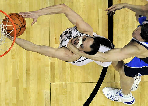 """Eduardo Najera had played less than a minute when he threw Manu Ginobili to the floor in Game 4 and was ejected. Najera is quick to argue he's not the only player in the series who's getting physical. He said the Mavs felt like they were getting bullied by the Spurs early in the series, and it became clear in his opinion that the Mavs """"have to fight back."""" """"If somebody's pushing you around,"""" Najera said, """"obviously you have to kind of retaliate and stand your ground."""" / © 2010 SAN ANTONIO EXPRESS-NEWS"""