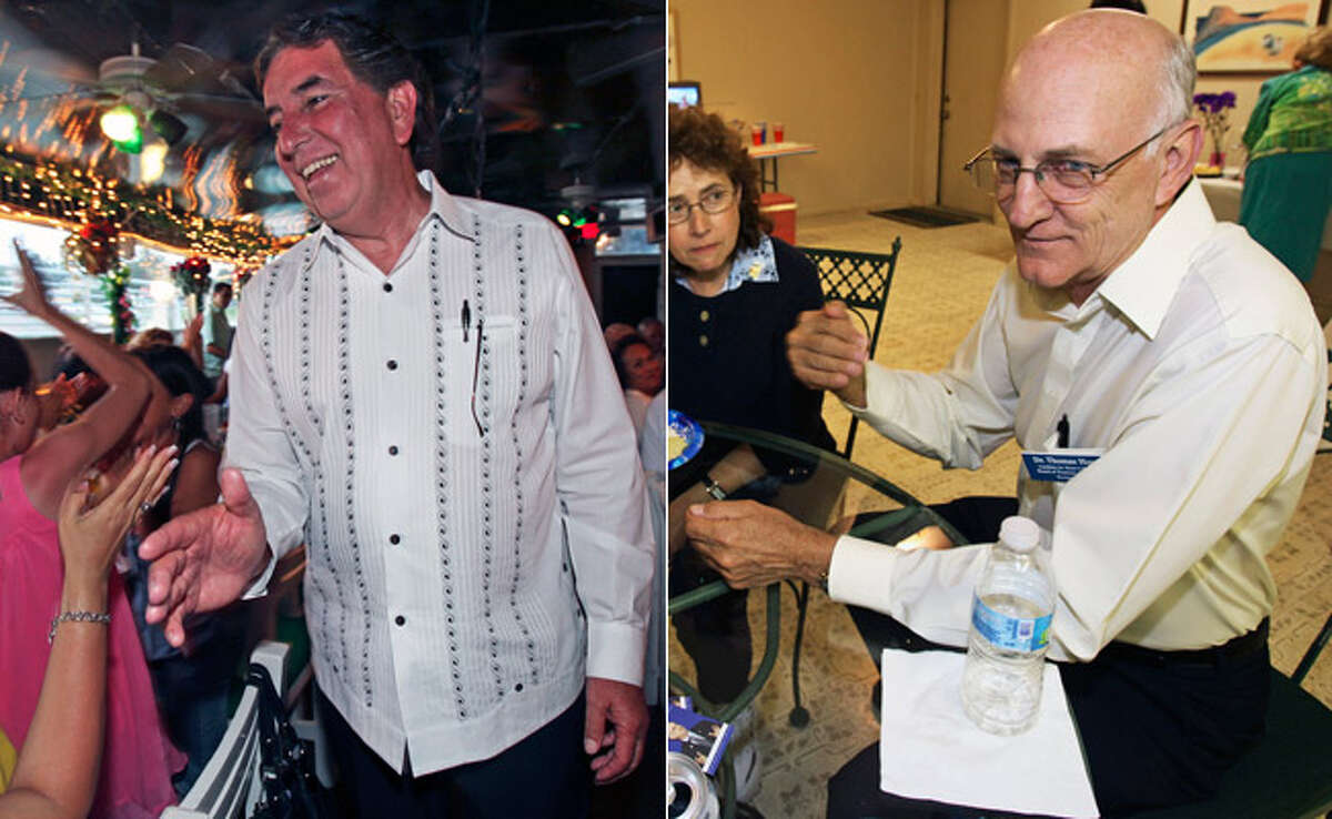 LEFT: Joe Alderete Jr. accepts handshakes at Cha Cha's Restaurant after hearing polling results at 8 p.m. that showed him ahead of others in the Alamo Colleges District 1 race. RIGHT: Thomas Hoy discusses polling numbers at the Charter Oaks Clubhouse. The retired SAC vice president will face former City Councilman Alderete in a runoff on June 12.