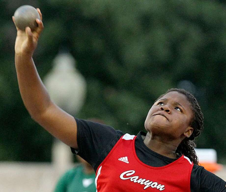 New Braunfels Canyon's Chamaya Turner throws the shot 44 feet, 10 1/2 inches to take first in the? 4A UIL state? track and field championships.