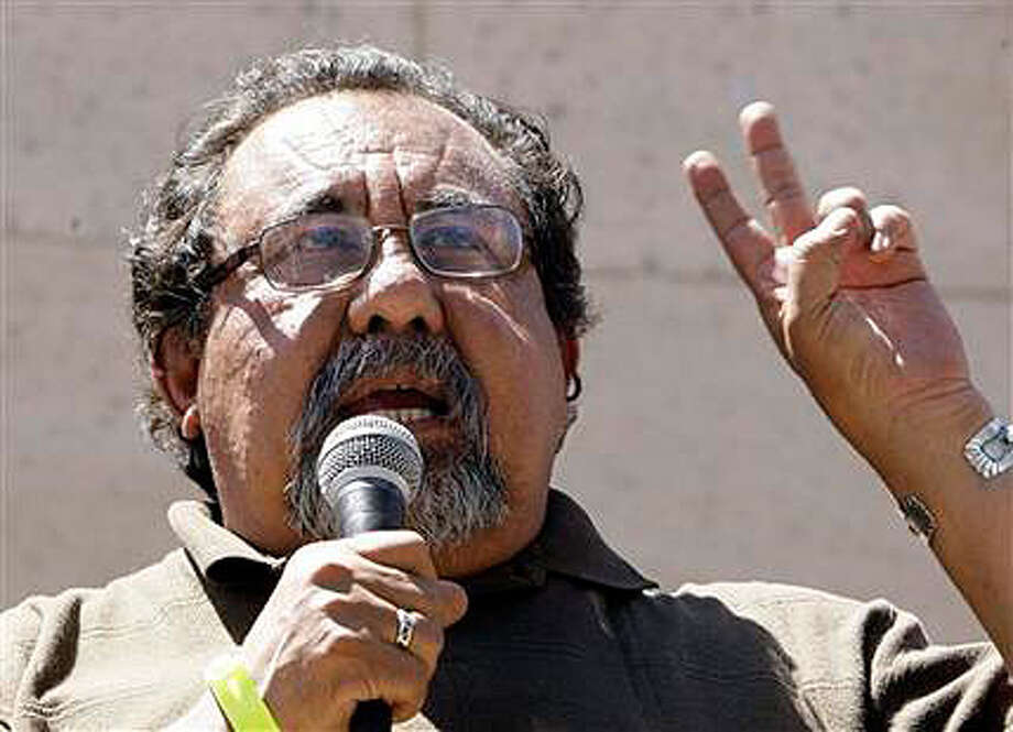 Rep. Raul Grijalva, D-Ariz., speaks to thousands of protesters attending a rally at the Arizona Capitol voicing their displeasure on Sunday, April, 25, 2010, over the Friday bill signing of SB1070 by the Arizona governor, in Phoenix.