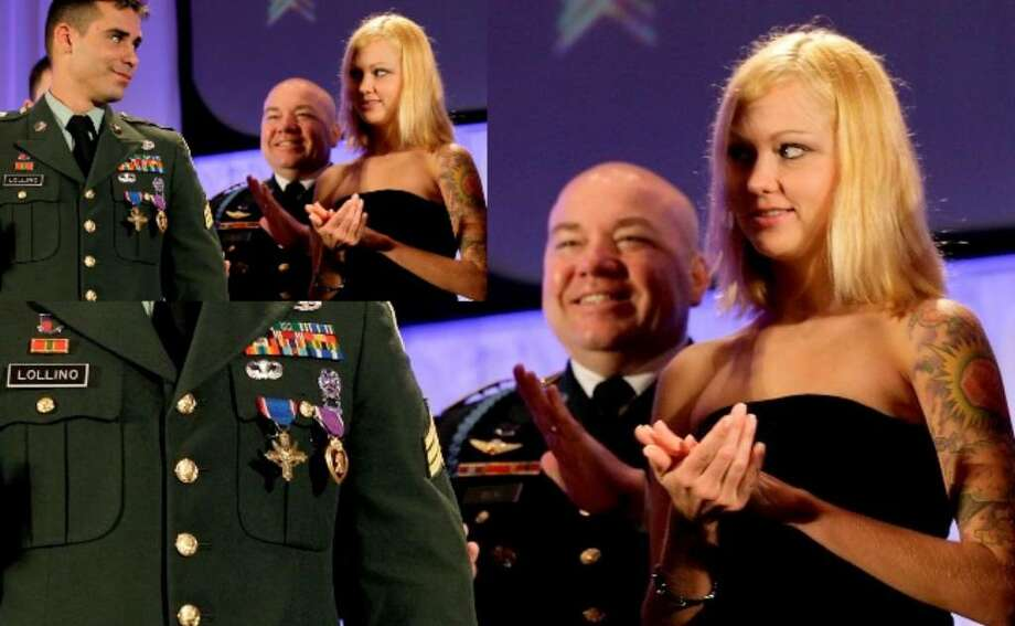 U.S. Army Sgt. Joseph Lollino looks over at his wife Ashley after receiving the Distinguished Service Cross and Purple Heart medals during a ceremony at the start of Army's medical symposium at the Convention Center Monday.