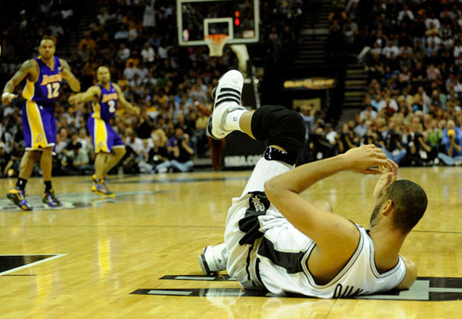 Tim Duncan, on the floor after falling against the Lakers last week, is shooting just 46 percent in 22 games since the All-Star break.