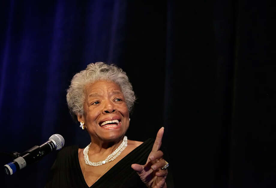 """Be the rainbow in someone else's cloud.""  Maya Angelou makes a point during her talk at the annual fundraiser luncheon for the Planned Parenthood Trust of San Antonio & South Central Texas,  April 14, 2010. The event drew about 1,200 people and raised $300,000."
